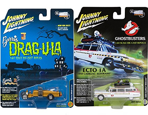 1959 Cadillac Ambulance (Spooky Die-Cast Car Replicas Ghostbusters Ecto-1A 1959 Cadillac Ambulance Exclusive Car & Silver Screens Munsters Barris Drag-u-la Hot Rod Creepy Set Limited Edition 2-Pack Johnny Lightning)