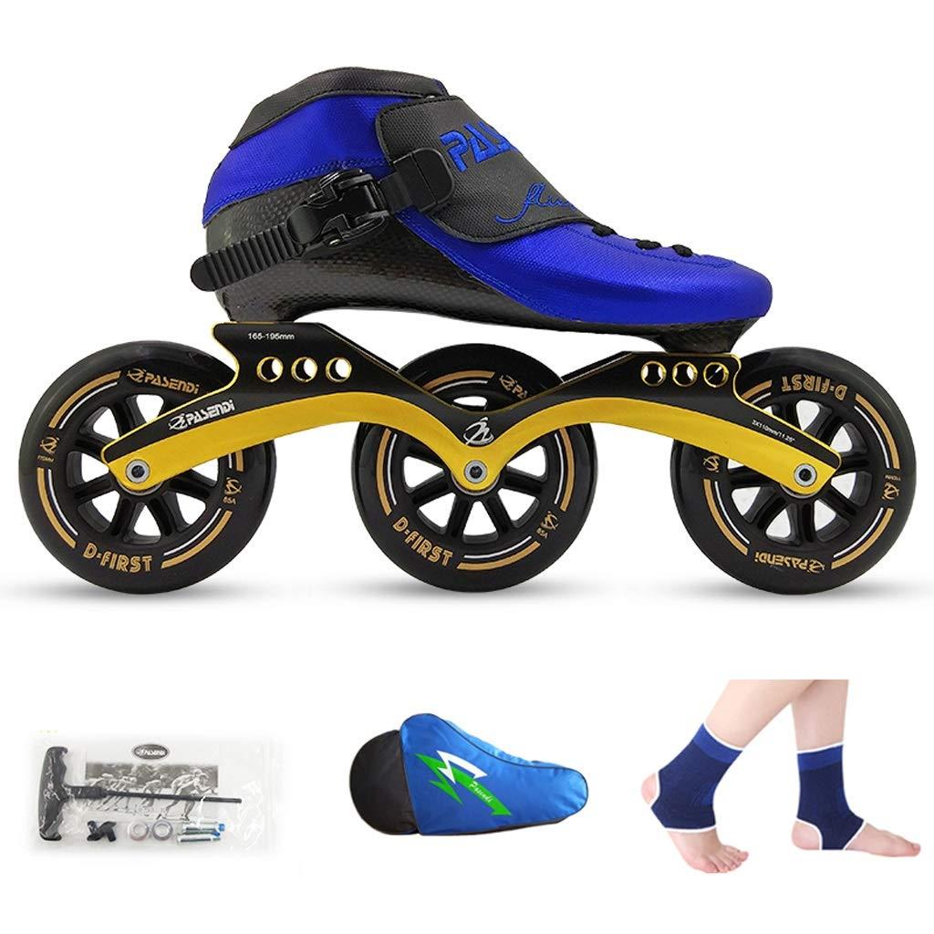 男性と女性のためのインラインスケート ローラースケート、 スピードスケート靴、 レーシングシューズ、 子供の大人のプロスケート、 男性と女性のインラインスケート 耐摩耗性と通気性 (Color : 青 shoes+黒 wheels, Size : 37)