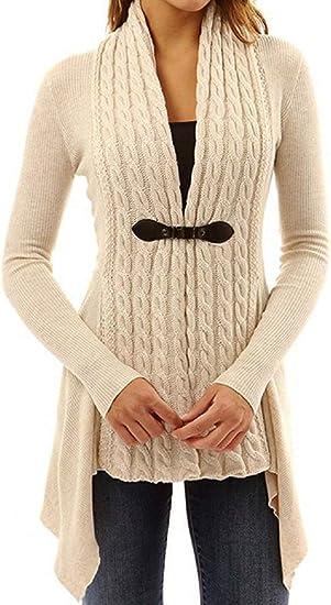 Newlife Donna Cappuccio Cardigan in Maglia Autunno Manica Lunga Pulsante Cappotto Maglieria Sottile Lunghe Tasca Coat Kimono Top