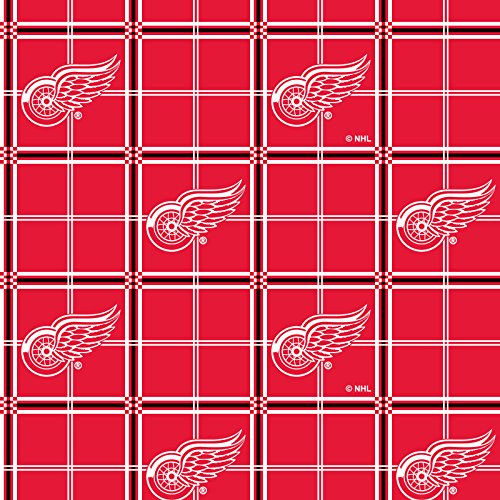 Detroit RED Wings Flannel Fabric-Sold by The Yard (Red Wings Fabric)