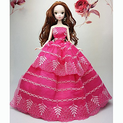 {Factory Direct Sale} Rose Red Handmade Fashion Wedding Gown Dresses Clothes Outfit Girl Party For Princess Barbie Doll