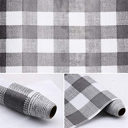 Plaid Wallpaper - Faux Gingham Cloth Look Self Adhesive Crafts Contact Paper Shelf Drawer Dresser Liner Vinyl Film17.7x78 Inch (Grey)