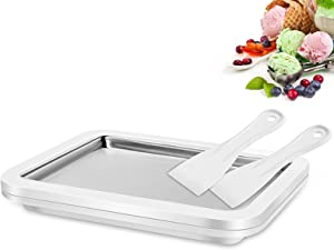 FROUXOUL Instant Ice Cream Maker Pan and Scraper with Material of Food Grade Stainless Steel,Cold Sweet Fried Food Plate