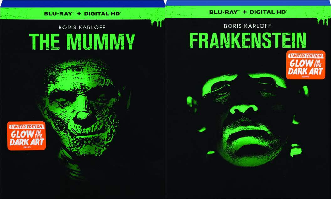 Amazon Com Classic Universal Monsters Who Glow In The Dark The Mummy And Frankenstein Starring Boris Karloff In Limited Edition Exclusive Glow In The Dark Slipcovers Blu Ray Bundle Boris Karloff Movies Tv
