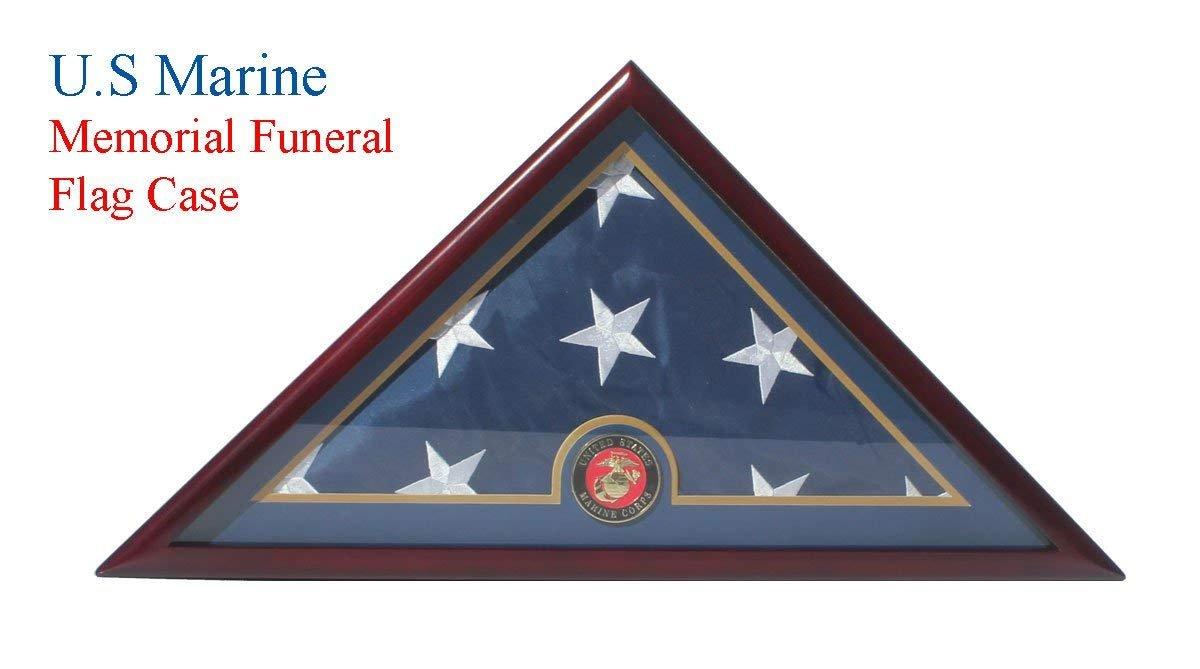DECOMIL MARINE Flag Display Case Box, 5x9 Burial - Funeral - Veteran Elegant Wood Display Case Flat Base by DECOMIL
