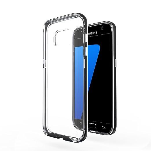 60 opinioni per Custodia Galaxy S7- Azorm Hybrid Edition Nero- Effetti Metallici, Trasparente,