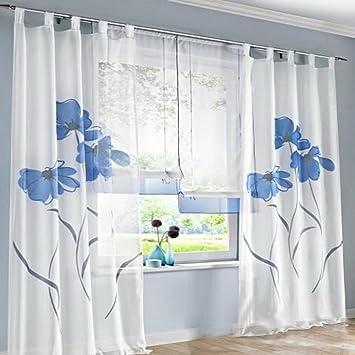 Souarts Blau Stickerei Transparent Gardine Vorhang Schlaufenschal Deko für Wohnzimmer Schlafzimmer Studierzimmer 150cmx175cm