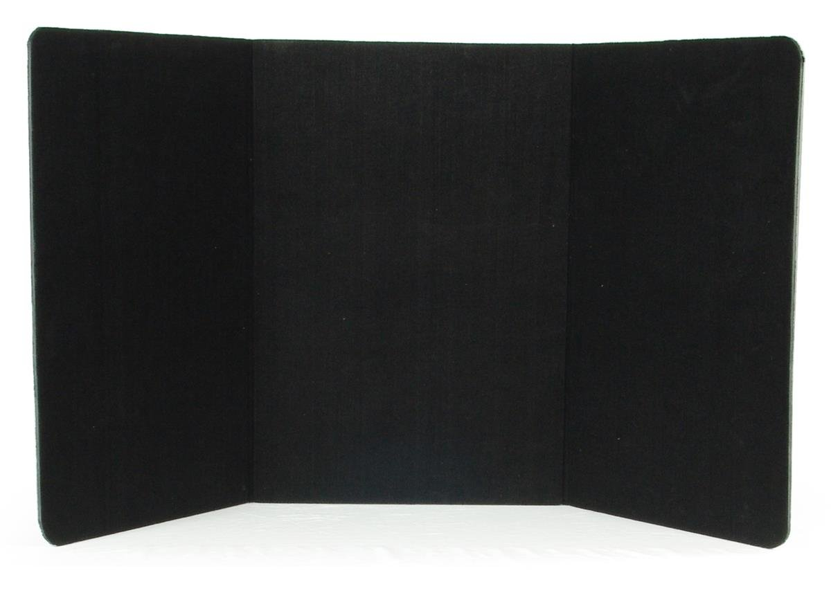 Displays2go 72 x 36 Inches 3-Panel Tabletop Display Presentation Board, No Plastic Edging - Black Velcro-Receptive Fabric (3PTTBLACK)