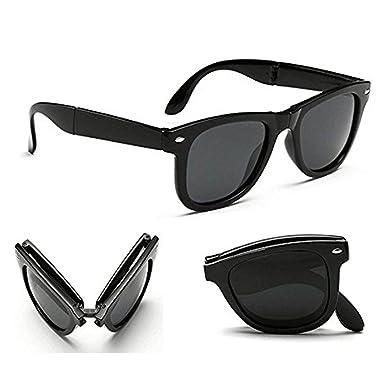 ee3a25db25fd0 Poloport Black Frame Shade Lens Folding Foldable Wayfarer Unisex Sunglasses