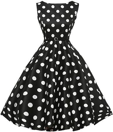 Yesmile Vestido de Mujer Vintage Falda Negro Vestido Elegante de ...