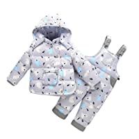 LPATTERN Unisex Baby Toddler Winter Snowsuit Cartoon Ski Snowpants Bib Down Coat Hooded Puffer Jacket 2 Piece Set Outfit