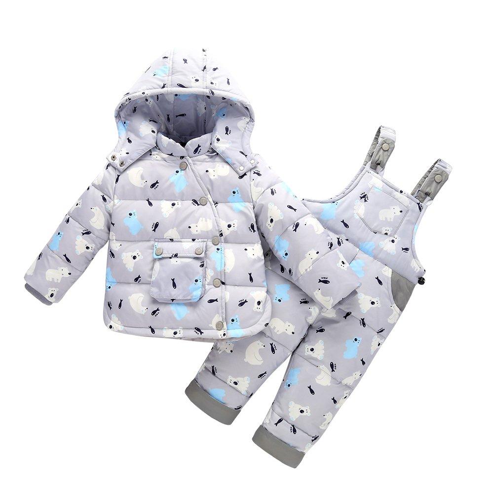 LSERVER-unisex tuta da sci per bambino piumino bambino invernale giacca bambina snowsuit snowboard piumino leggero giacche completo da neve per bambino 2 pezzi, 1-3 anni