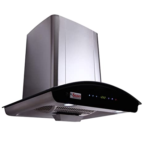 Seavy 60 cm 1100 m3/hr Auto Clean Chimney (Prime SS 60, 1 Baffle Filter, Touch Control, Steel/Grey)
