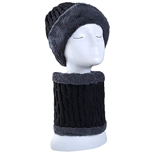 72f74dae763 Zando Men Women Winter Fleece Beanie Hat Fashion Soft Knit Thick Hat Scarf  Set Snow Ski Cap 1 Pack Black One Size at Amazon Men s Clothing store