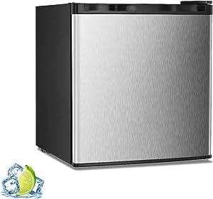R.W.FLAME Mini Freezer Countertop, Energy Star 1.1 Cubic Feet Single Door Compact Upright Freezer with Reversible Door(Silver)