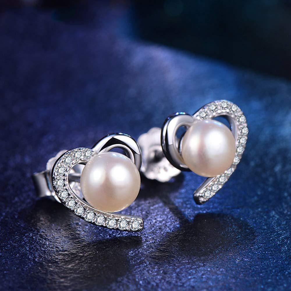 Damen Herz Zirkonia Ohrringe 6mm Süßwasser Taste weiß Perlenohrringe 925 Silber Ohrstecker mit Geschenkbox