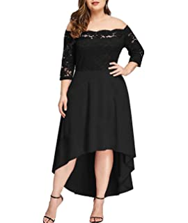 f1275fa78a7b Beaurex Women's Floral Lace Overlay Top Plus Size Pleated Off Shoulder Cocktail  Party Midi Dresses