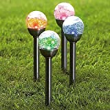 TUZECH Waterproof and Colorful Glass and Steel Broken Ball Designer Garden Solar Led (set of 2)