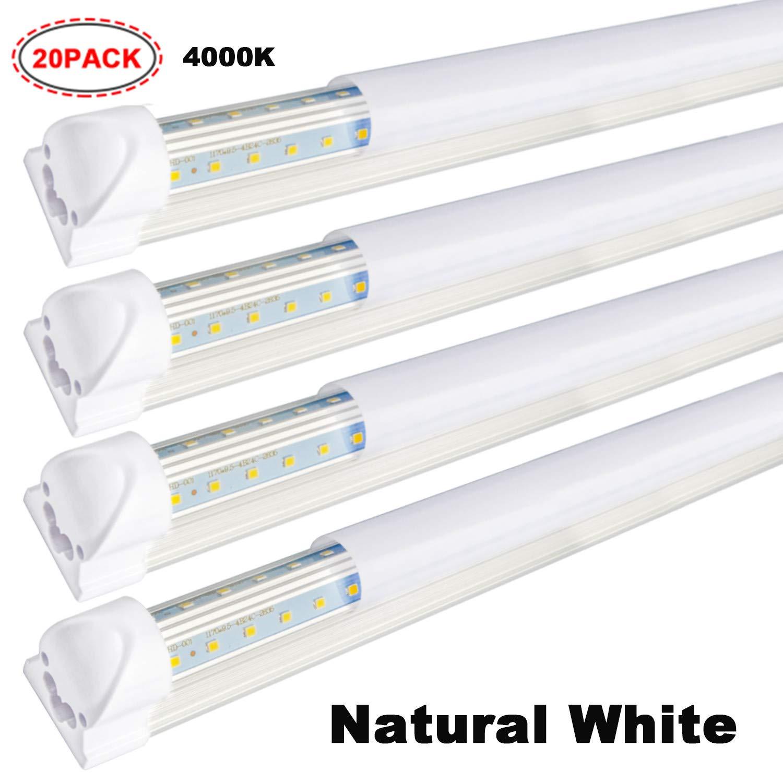 20 pack 8ft led shop light fixture 65w 7500 lumens 4000k natural
