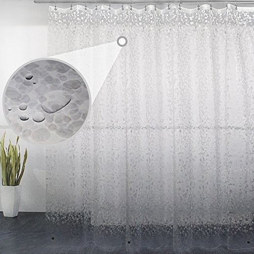 Eforgift Waterproof Durable EVA Shower Curtain Mildew Repellent 3D Semi-Transparent Cobblestone Design with 3 Magnets, Modern Nontoxic Bath Curtain Liner Eco-Friendly and PVC Free, 72 x 78 inches (Curtain Transparent Plastic)