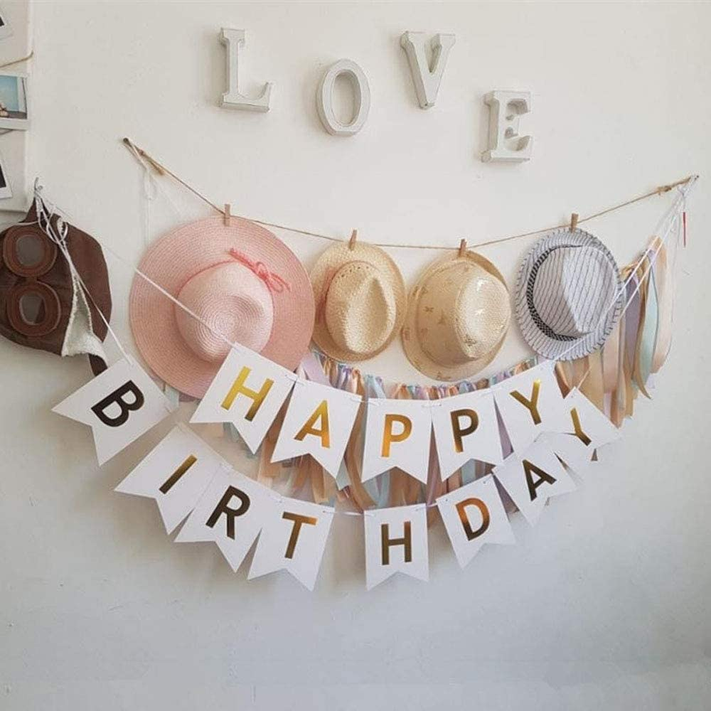 Large Black Birthday Bunting with Shiny Gold Letters and 6 Pcs Balloons Party Decorations kits for Any Agess Party Supplies AUERVO Happy Birthday Banner