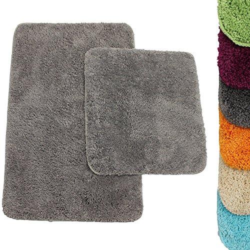 Badematten Set Lasalle in Grau 2 teilige Badgarnitur: Badvorleger 50 x 80 cm + WC-Vorleger 45 x 50 cm - weitere Farben wählbar