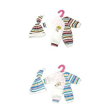 MagiDeal 2 Juegos de Pijamas Ropa Half Striped Jumpsuits + Sombrero para Muñecas de 14-