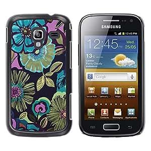 Be Good Phone Accessory // Dura Cáscara cubierta Protectora Caso Carcasa Funda de Protección para Samsung Galaxy Ace 2 I8160 Ace II X S7560M // Flowers Blue Drawing Paint