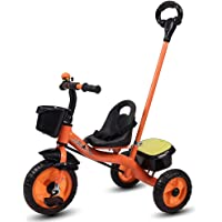 Little Olive Little Toes Baby Tricycle / Kids Trike / Bicycle / Ride On with Parental Adjust Push Bar and Foot Rest | Suitable for Boys & Girls - (1 to 4 Years) (Orange)