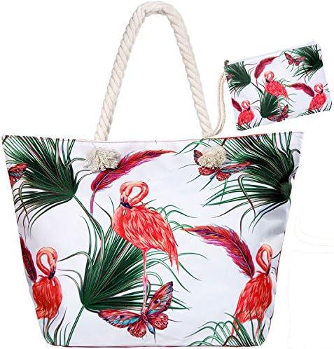 Meersee borsa da spiaggia grande con chiusura zip XXL Borse a Mano Borsa da Viaggio in Tela Grande Borse Tracolla per Donna,Flamingo Rosso