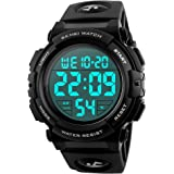 TONSHEN Large Numbers LED Digital Sport Watch for Men and Women Unisex 50M Waterproof Military 12H/24H Time Outdoor…
