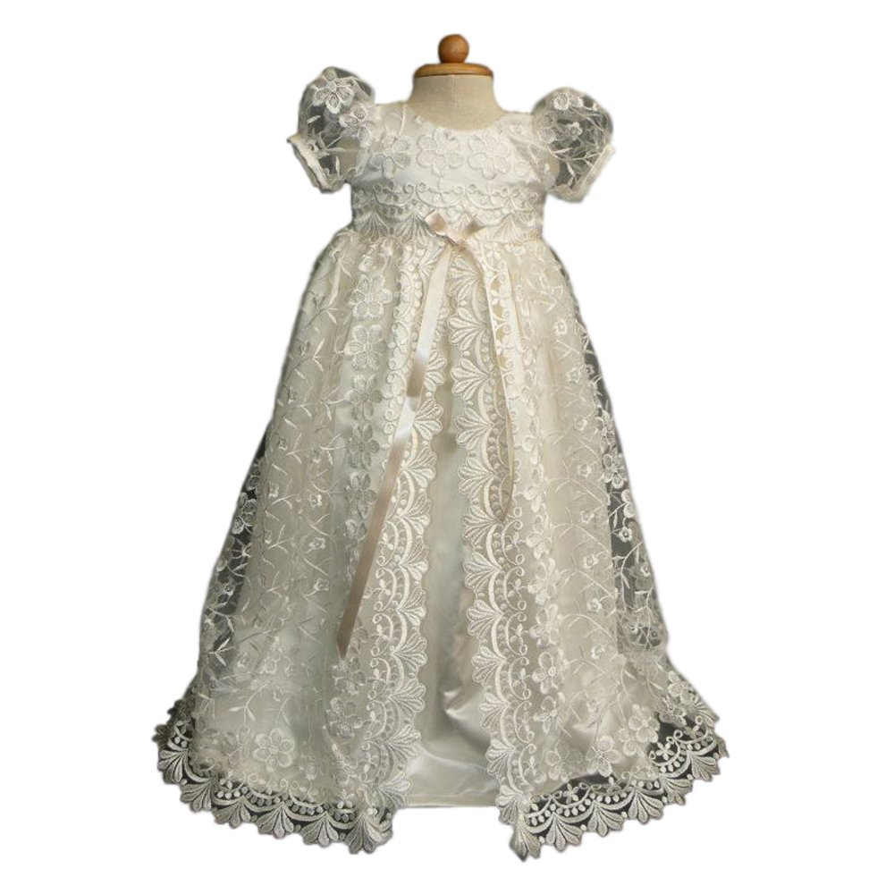 Pretydress Girl's White Lace Satin Christening Gown With Bowknot (White, 0-3 Moths)