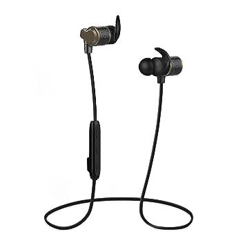 Auriculares inalámbricos, JTD Bluetooth 4.2 Auriculares Auriculares de Sonido estéreo magnéticos Que Ejecutan Auriculares con micrófono para Deportivo, ...