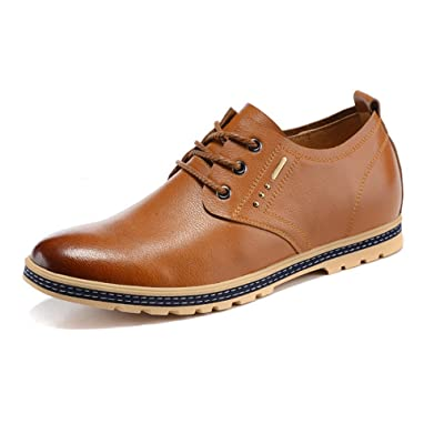 2.17 Inches Taller-Genuine Leather Height Increasing Elevator Oxfords Fashion Business Casual Shoes