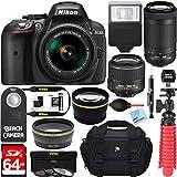 Nikon D5300 24.2 MP DSLR Camera + AF-P DX 18-55mm & 70-300mm NIKKOR Zoom Lens Kit + 64GB Memory Bundle + Photo Bag + Wide Angle Lens + 2x Telephoto Lens + Flash + Remote +Tripod+Filters (Black)