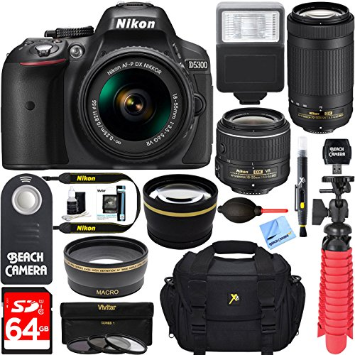 Nikon-D5300-242-MP-DSLR-Camera-AF-P-DX-18-55mm-70-300mm-NIKKOR-Zoom-Lens-Kit-64GB-Memory-Bundle-Photo-Bag-Wide-Angle-Lens-2x-Telephoto-Lens-Flash-Remote-TripodFilters-Black
