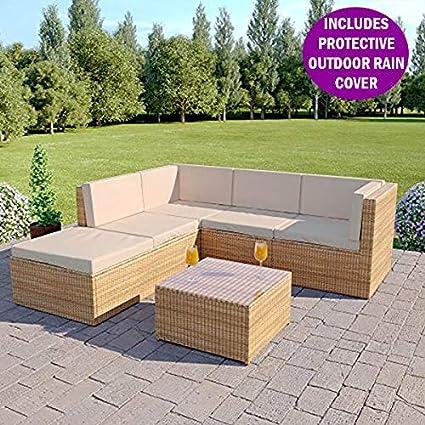 Abreo Rattan Modular Corner Sofa Set Garden Conservatory Furniture 5 To 9  Pieces Barcelona, Light Brown