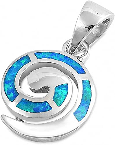 Peace Sign Pendant Blue Simulated Opal .925 Sterling Silver Charm