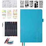 Bullet Dotted Journal Kit, Feela A5 Dotted Bullet Grid Journal Set with 224 Pages Teal Notebook, Fineliner Colored Pens…