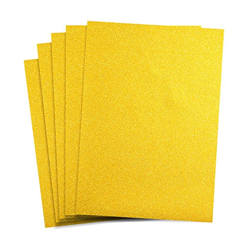 Rozzy Crafts - Rainbow Yellow Glitter Heat Transfer Vinyl (HTV) - 5 Sheets Each 12 inches by 10 inches - Works with Cricut, Silhouette, and All Other Cutting Machines