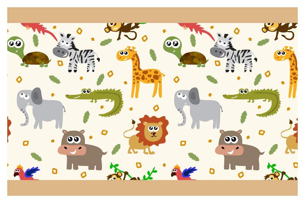 I-love-Wandtattoo b-10178 - Bordo decorativo adesivo da parete, animale da safari colorati, la camera dei bambini, 5m, stripes carta da parati, decorazioni per bambini