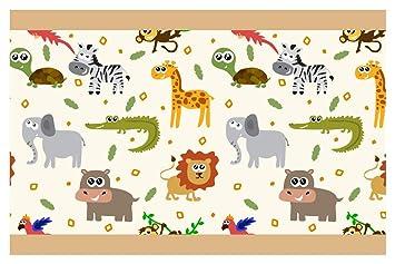 I-love-Wandtattoo Kinderzimmer Bordüre Borte Bunte Safari Tiere Junge  Mädchen Wanddeko
