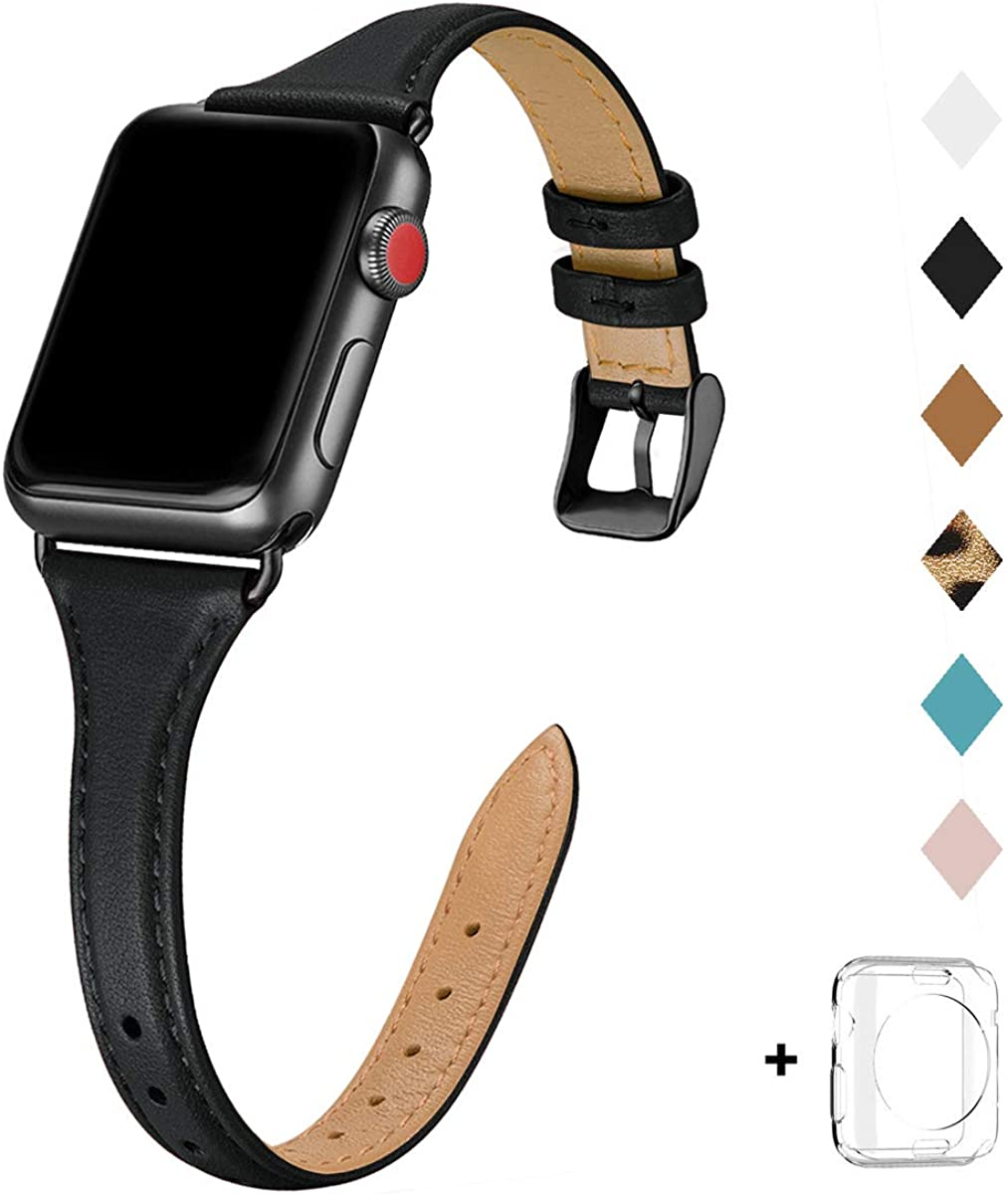 Bestig Leather Band Compatible for Apple Watch 38mm 40mm 42mm 44mm, Slim Thin Genuine Leather Replacement Strap for iWatch Series 5/4/3/2/1 (Black Band+Black Adapter, 38mm 40mm)