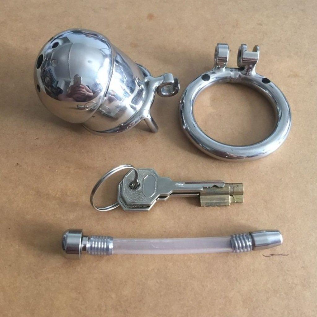 LYN- Sexo Juguetes eróticos Cinturones de castidad Jaula de inoxidable, castidad, juguetes sexuales, con catéter urinario, metal acero inoxidable, de macho, cerradura de castidad, correa para el tobillo, estimulador 23a8ed