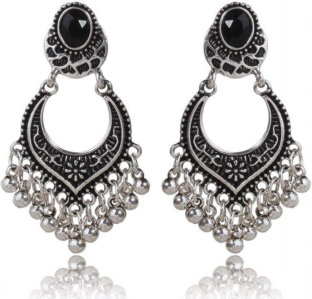 ZRDMN pendientes de botón joyas de perlas para las mujeres Cuelga el anillo de cuentas pequeñas de los flujo de aretes antiguos de Plata Retro orejas negras de perforación de agua