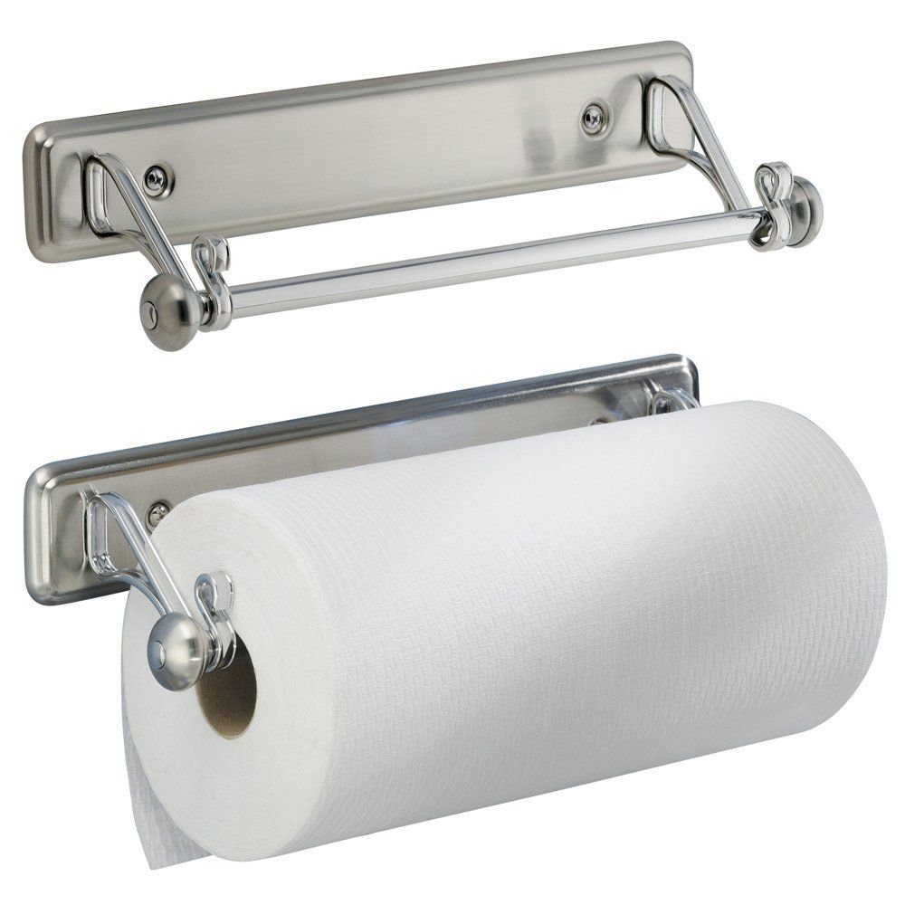 Under Cabinet / Wall-Mount Paper Towel Holder for Kitchen, Bathroom, Stainless Steel Finish