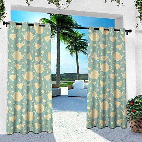 Tea, for Patio Light Block Heat Out Water Proof Drape,Tea Cup and Teapot Elements in Nostalgic British English Tradition Print, W108 x L84 Inch, Light Yellow Turquoise ()