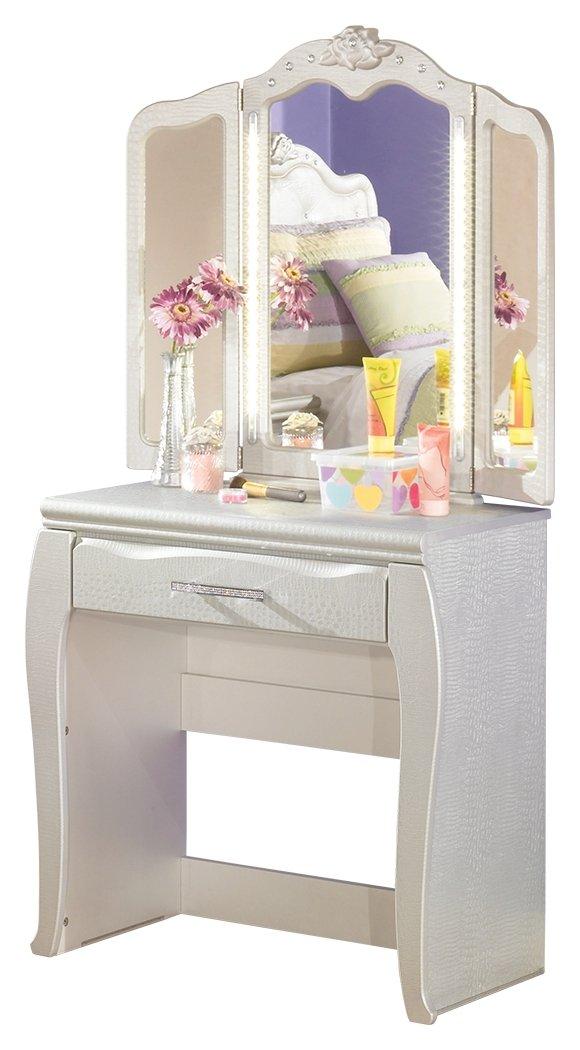 Ashley Furniture Signature Design - Zarollina Youth Vanity & Mirror - Children's Glitz Vanity - White
