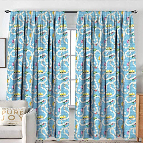 NUOMANAN Bathroom Curtains Kids Activity,Cartoon Style Road with a Variety of Vehicles Buses Cars and Trucks Driving,Multicolor,Drapes Thermal Insulated Panels Home décor 54