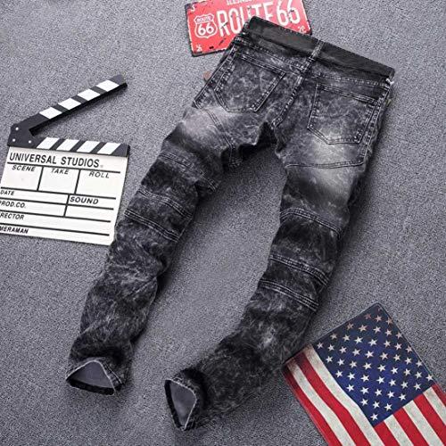 Vaqueros Absolute Mezclilla Sueltos Gris Pliegues ♚ Stretch Pantalones para de fit Slim Pantalones y Hombre con Rotos Skinny aRE8Fqw